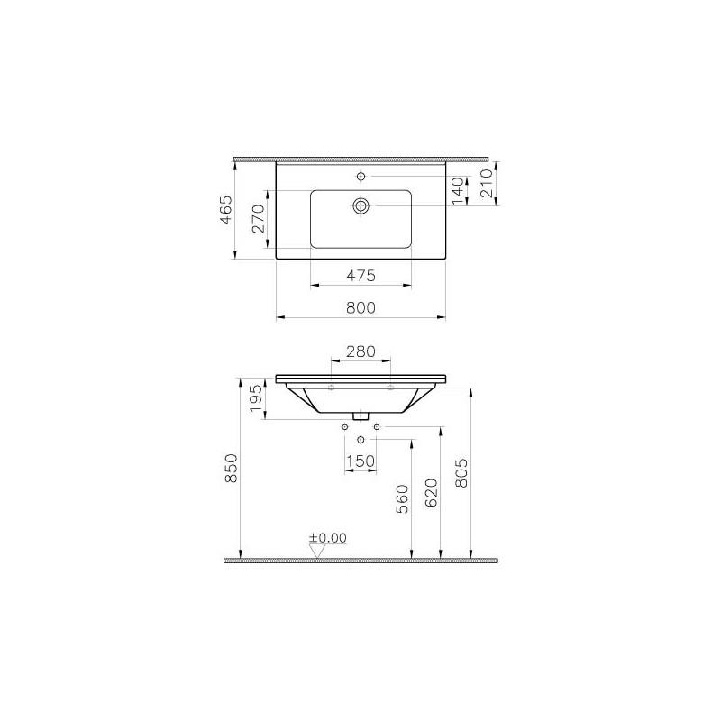 Vitra S50 Vanity Basin 80cm 1 Taphole