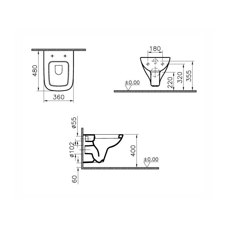 Vitra S20 Wall-Hung Short Projection Toilet with Soft Close Seat