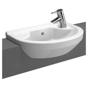 Vitra S50 Basin 55cm Compact 1 Taphole Round Semi Recessed Right
