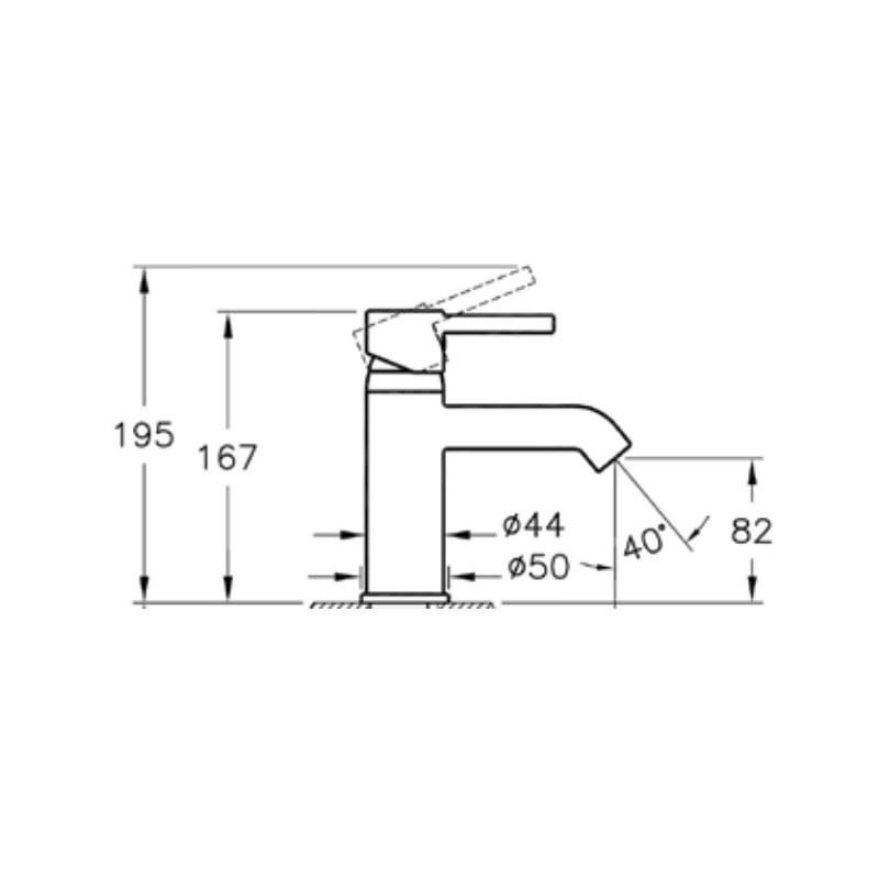 Vitra Minimax S Basin Mixer without Waste Chrome
