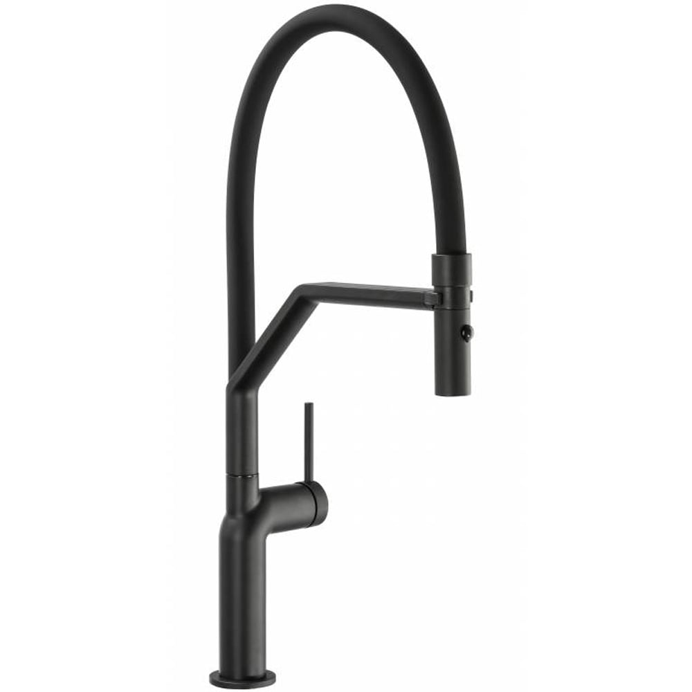 abode tubist professional matt black pullout spray kitchen sink mixer tap at2133