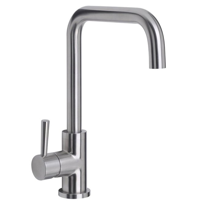 astini melo brushed steel single lever kitchen sink mixer tap ak175 - Brushed Steel Kitchen Sinks
