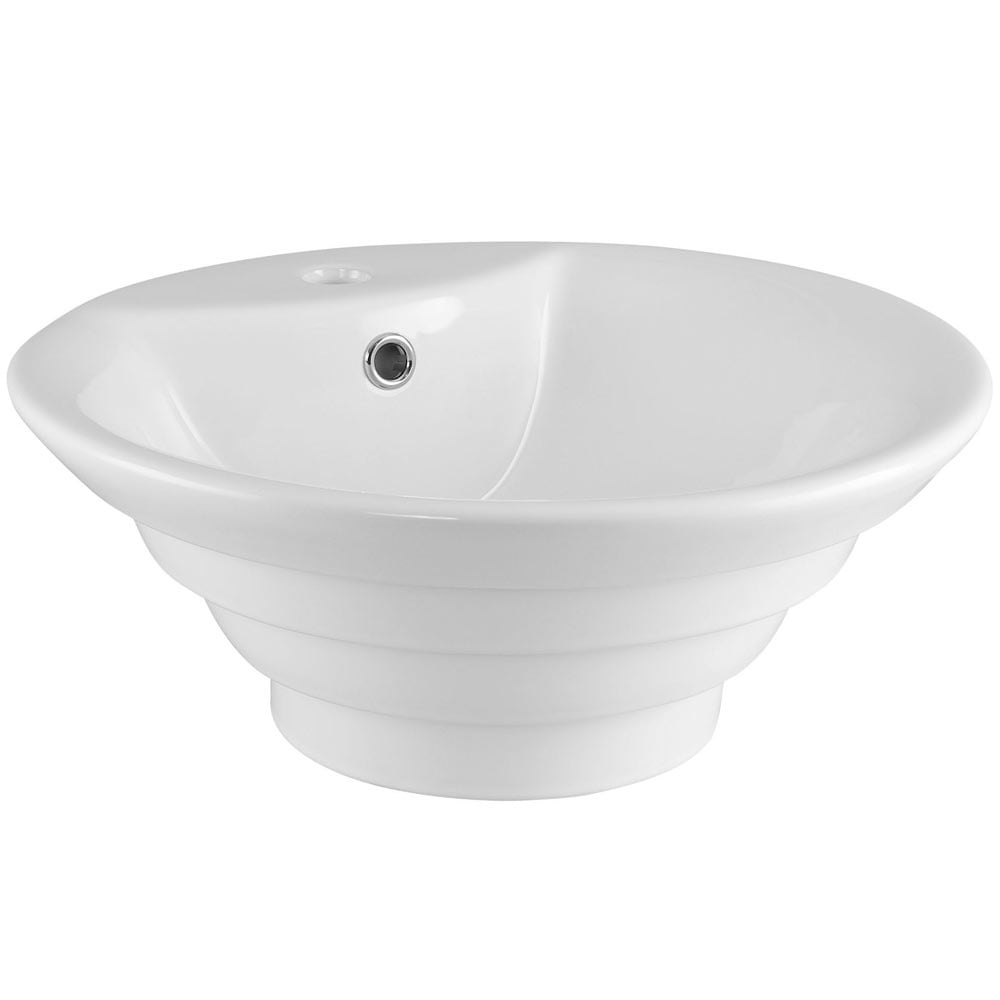 nuie vessels white round ceramic countertop basin 1th 460mm nbv006