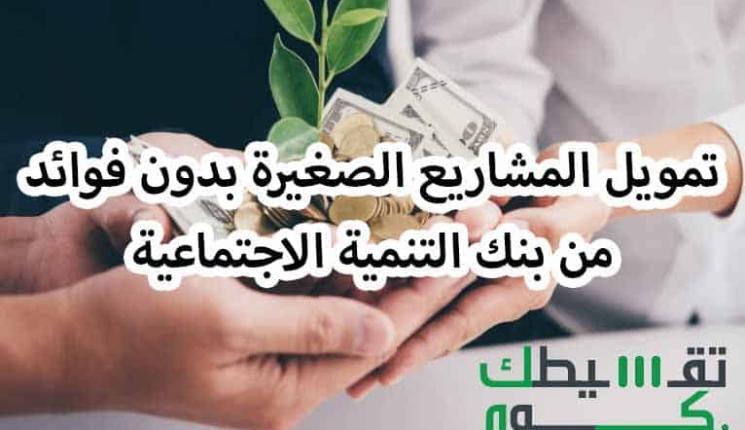 تمويل المشاريع الصغيرة بدون فوائد من بنك التنمية الاجتماعية