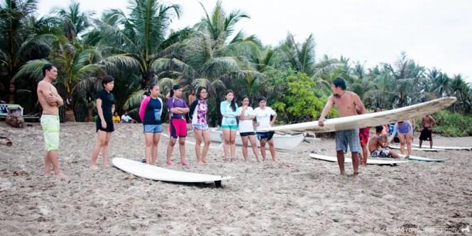 Surfing in Lola Sayong's surf camp in Gubat, Sorsogon