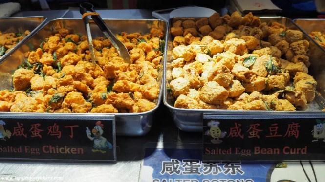 Taman Connaught pasar malam salted-egg chicken and fish skin