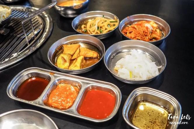 Samgyupsalamat menu - banchan and dips
