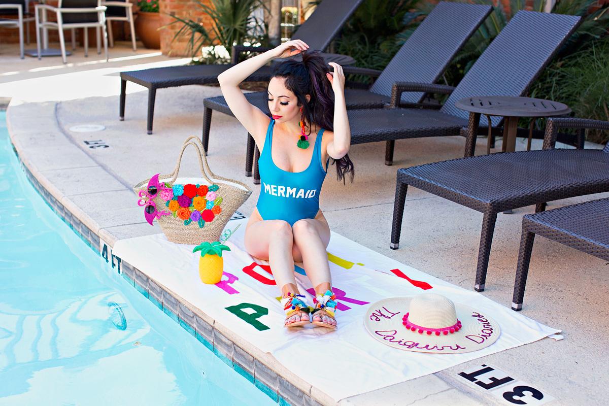 mermaid swimsuit and steve madden tassel sandals