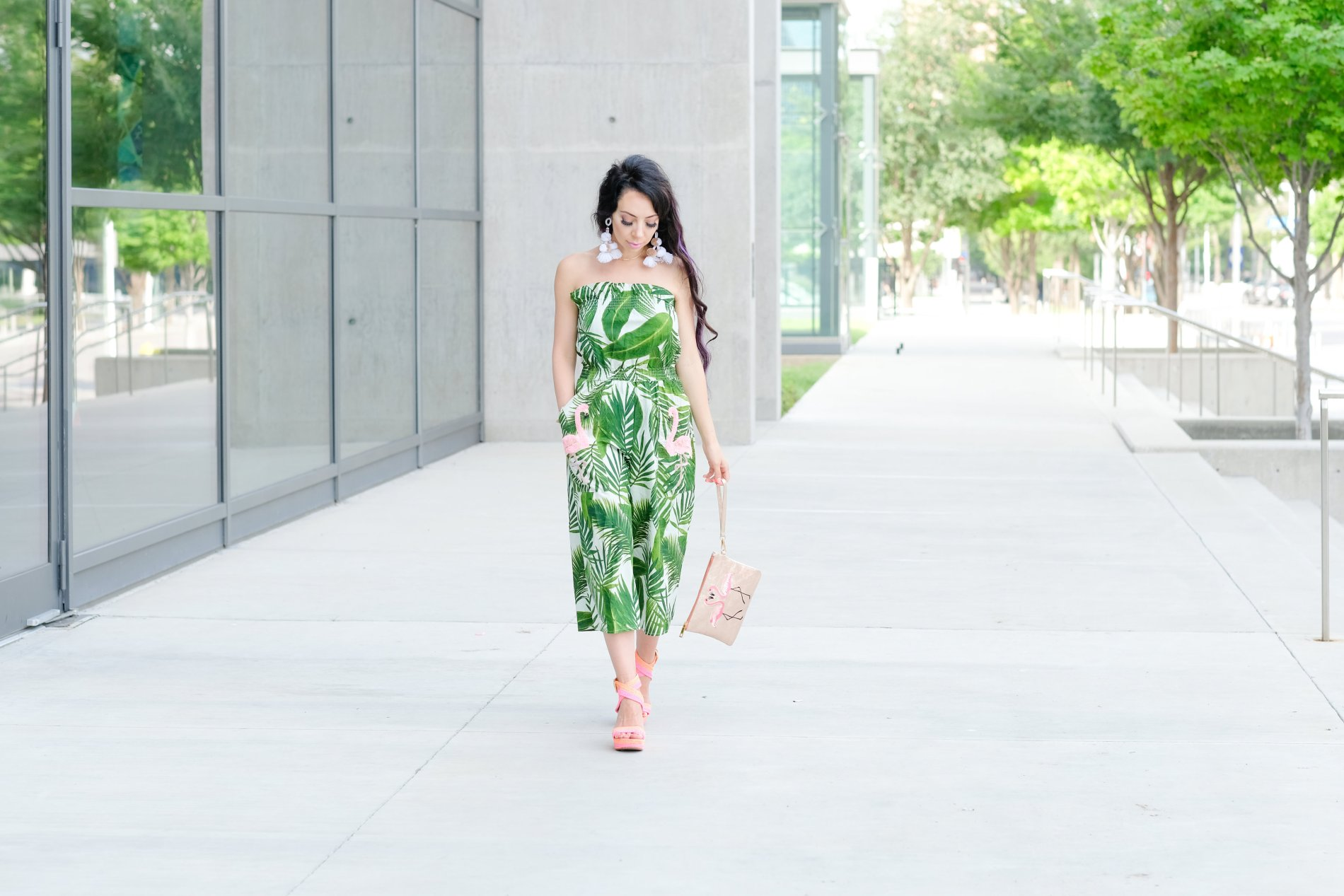 palm flamingo jumpsuit with pockets