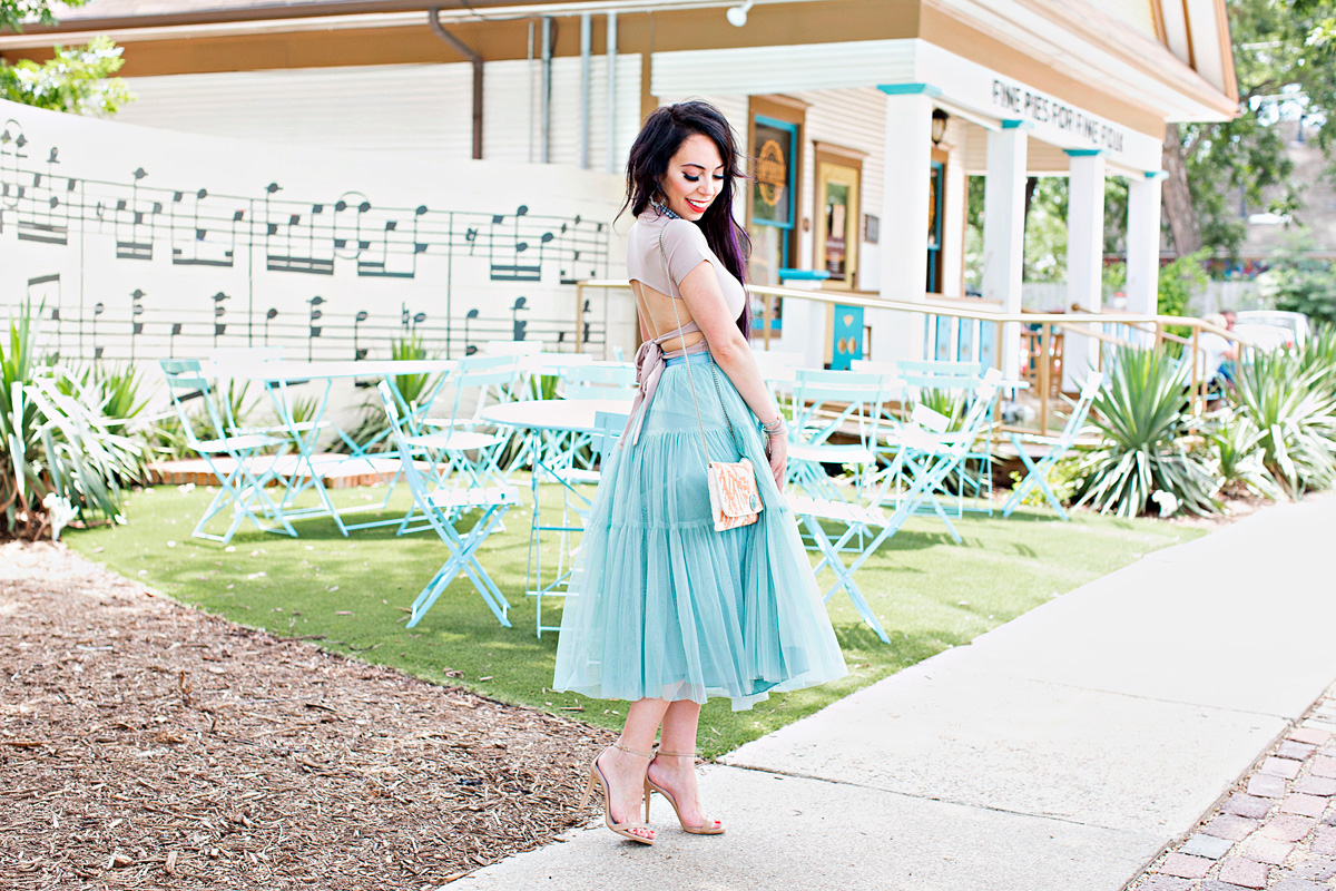robin egg tulle skirt