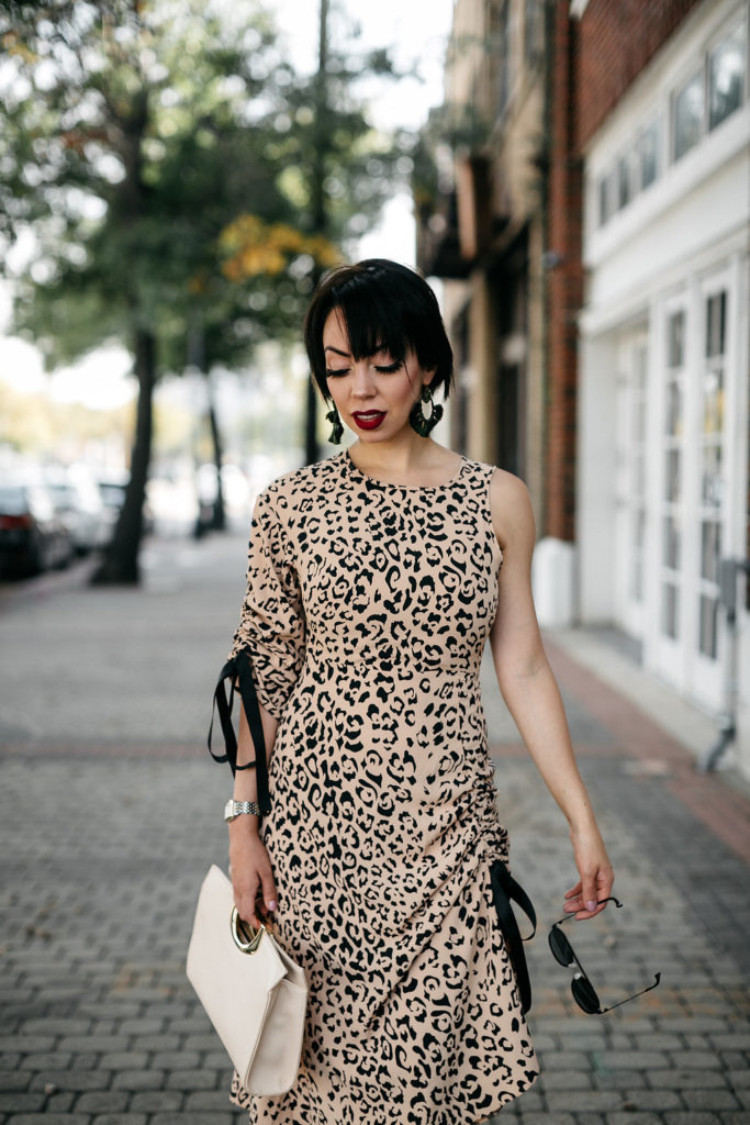 cinched animal print dress