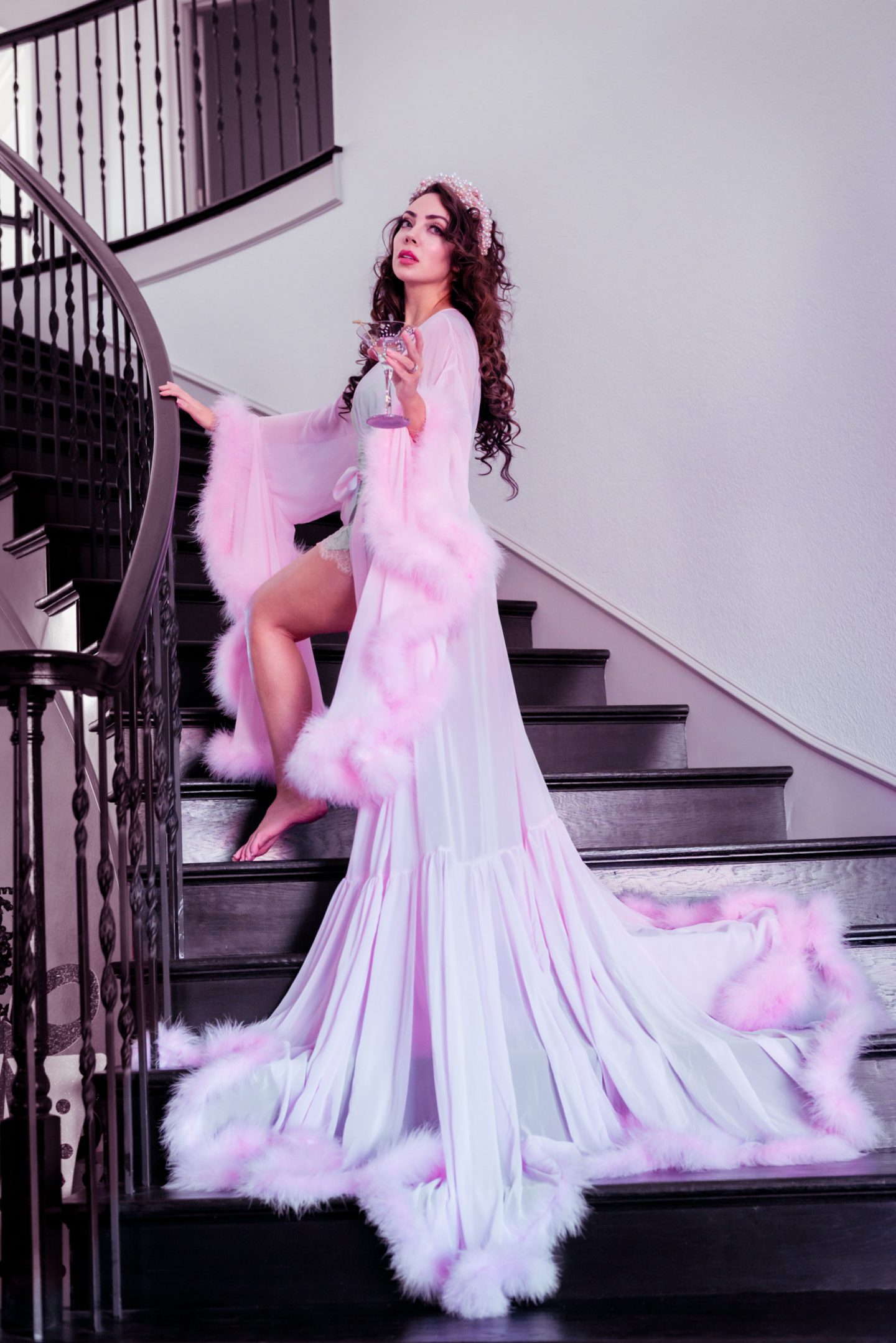 pink feather robe