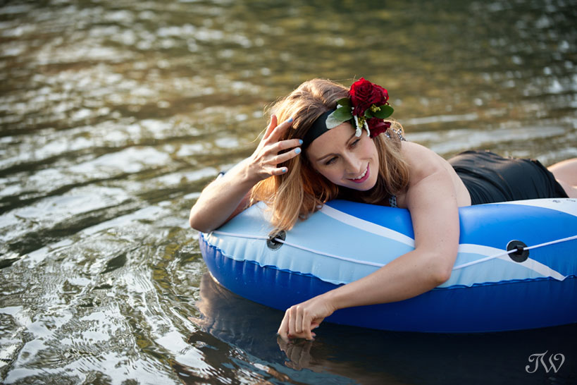 inner tubing on the Elbow River captured by Tara Whittaker Photography