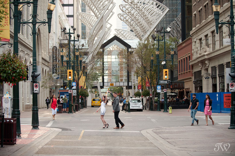 couple dance on Stephen Avenue captured by Tara Whittaker Photography