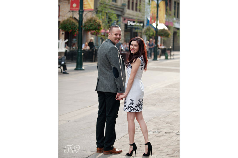 engagement photos on Stephen Avenue captured by Tara Whittaker Photography