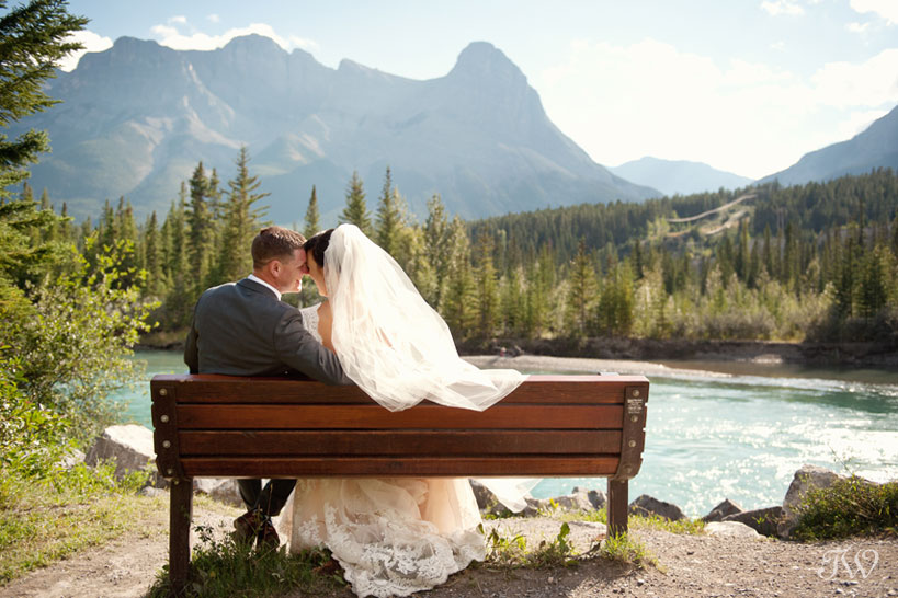 couple after their Quarry Lake wedding in Canmore captured by Tara Whittaker