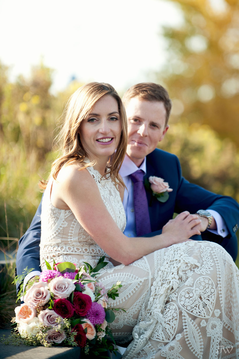 fall bride and groom at their Charbar wedding in Calgary