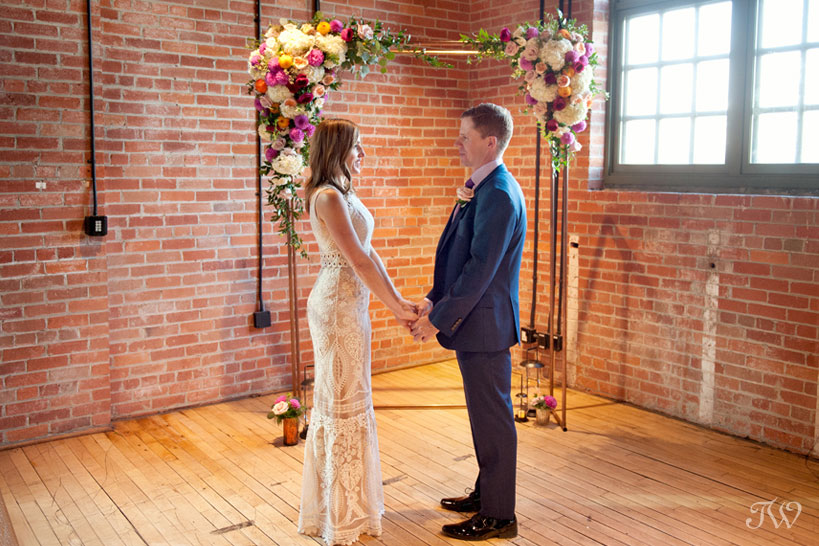 Copper arch at a Charbar Calgary wedding captured by Calgary wedding photographer Tara Whittaker