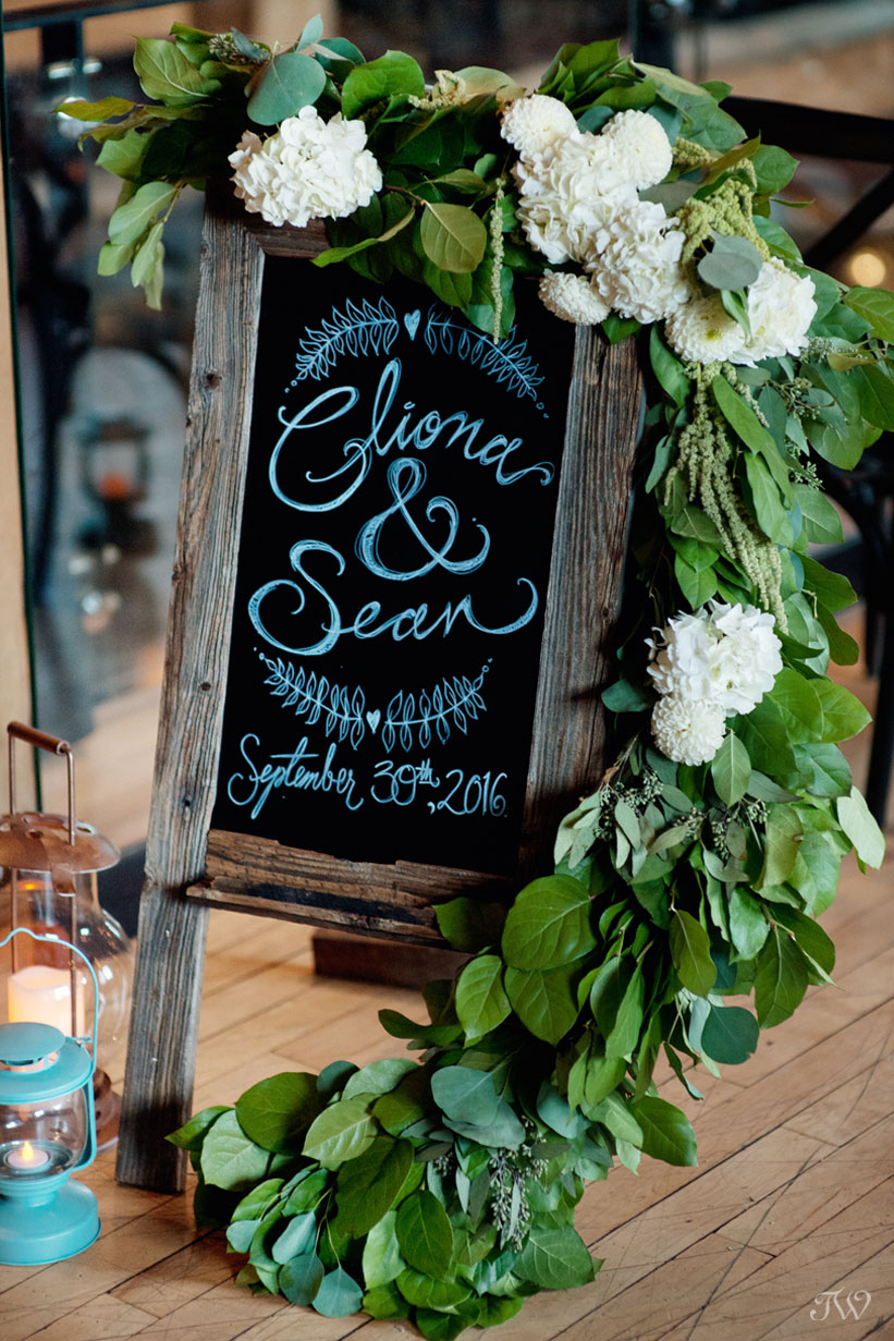 Blackboard sign at a Charbar Calgary wedding captured by Tara Whittaker Photography
