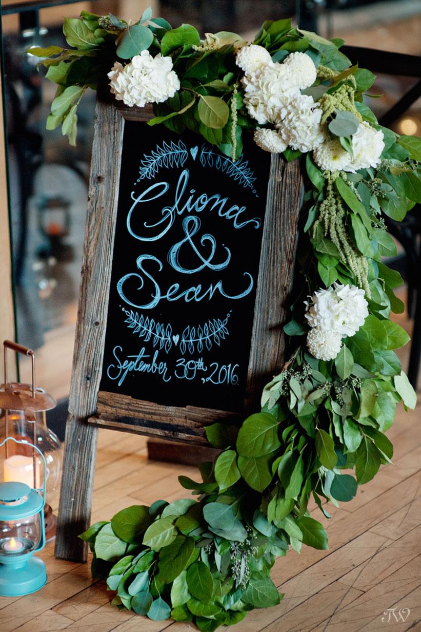 Blackboard sign at a Charbar Calgary wedding captured by Tara Whittaker Photography