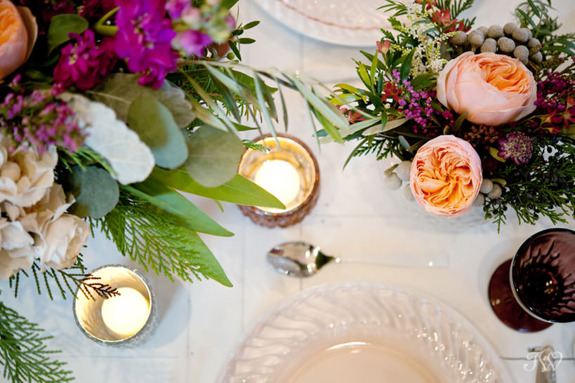 tabletop details in berry tones winter wedding inspiration captured by Tara Whittaker Photography