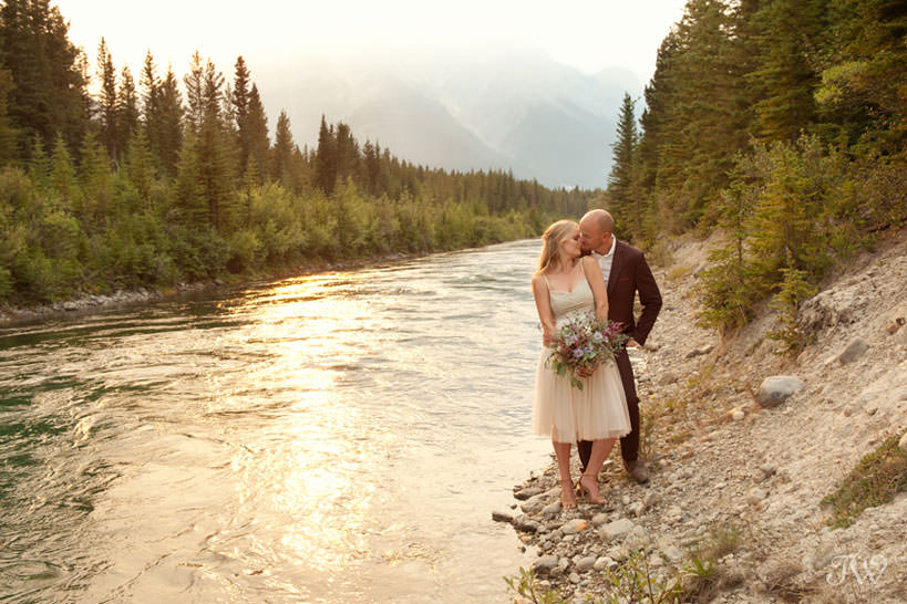 Couple during their Spray Lakes engagement session captured by Tara Whittaker Photography