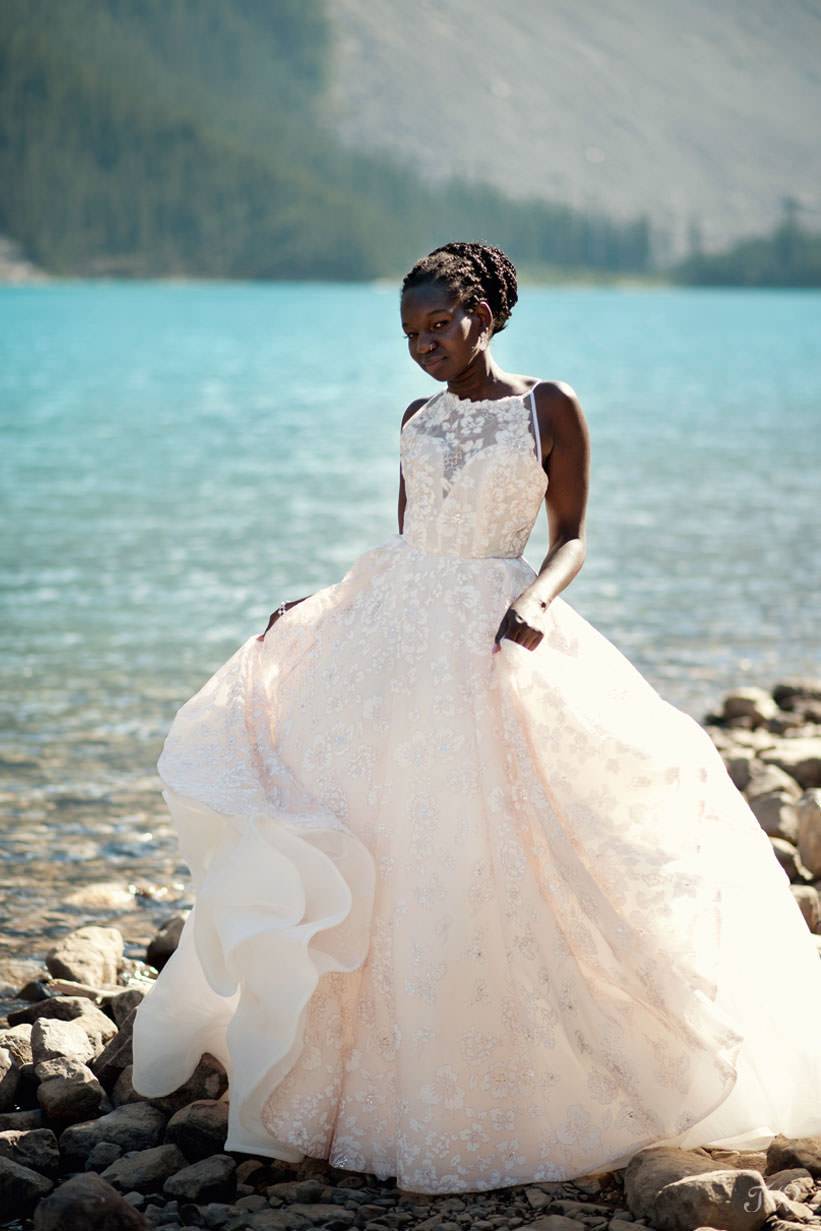Moraine Lake bride Debol in a blush gown by Hayley Paige captured by Tara Whittaker Photography