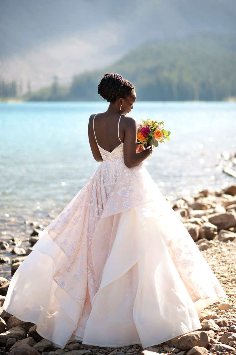 Moraine Lake bride in the Regan gown by Hayley Paige captured by Tara Whittaker Photography