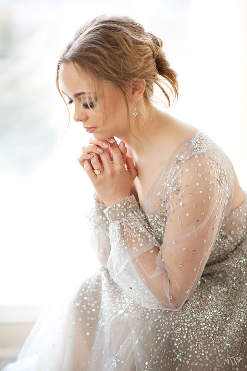 Bride wearing Lumi gown by Hayley Paige from Cameo & Cufflinks captured by Tara Whittaker Photography