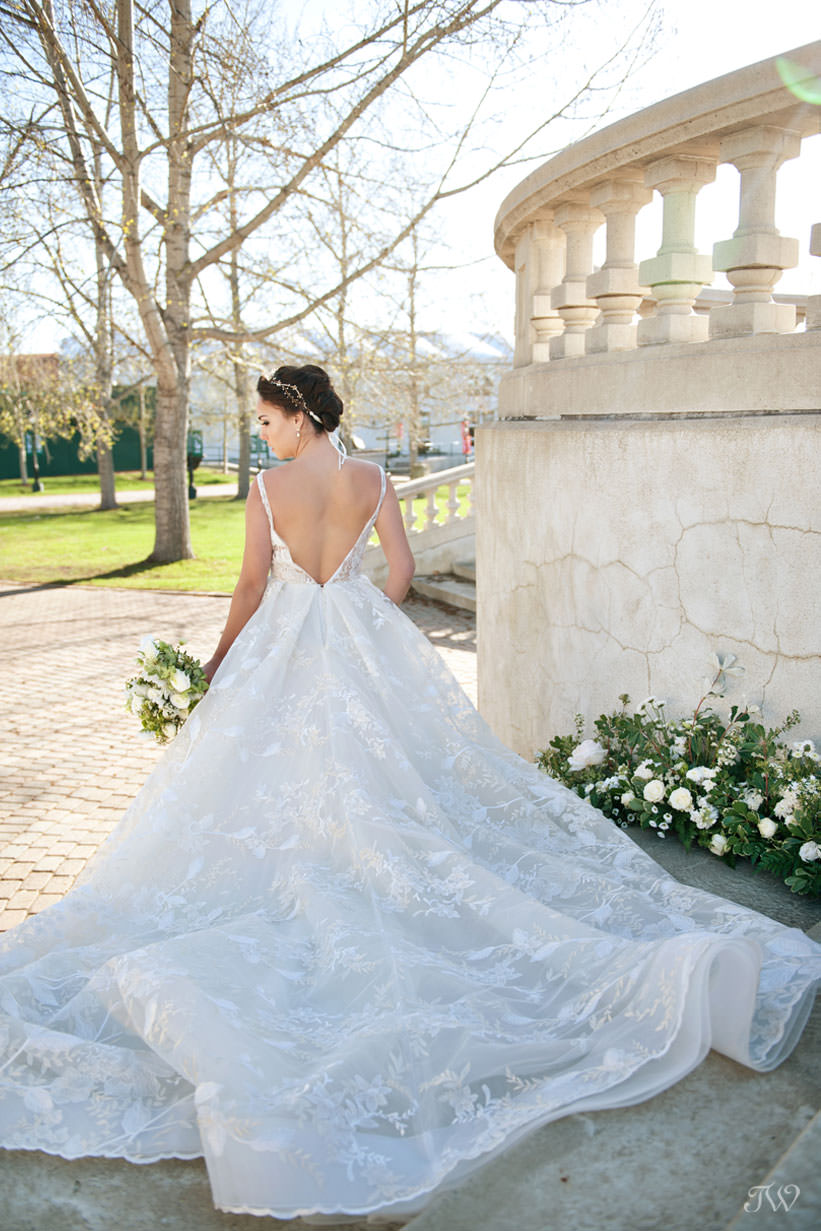 Bride in Lazaro at Spruce Meadows captured by Calgary wedding photographer Tara Whittaker