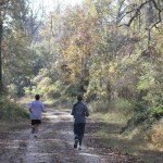 Runners on a trail