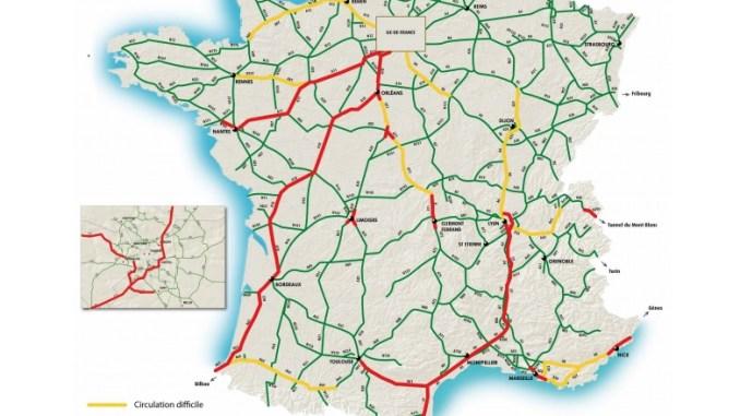 Journée rouge sur les routes du sud ouest. conseils de circulation à Toulouse