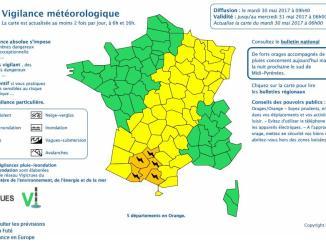 Orages Violents. Tarbes et les Hautes Pyrénées en alerte météo vigilance orange