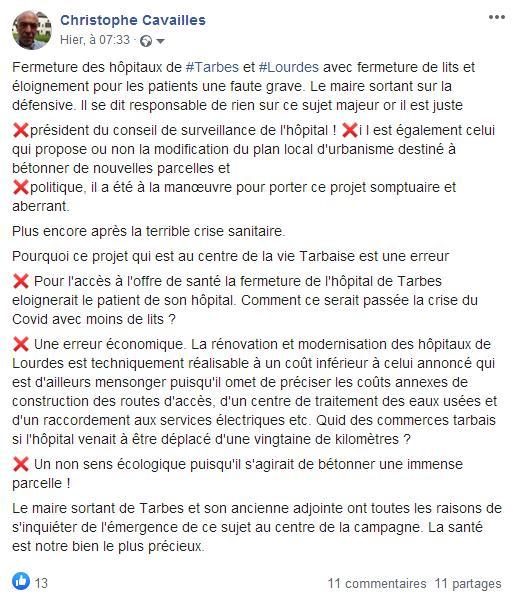 Maintien hôpital Tarbes et Lourdes Parti socialiste Christophe Cavaillès