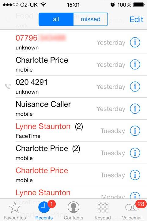 حظر المكالمات للأيفون
