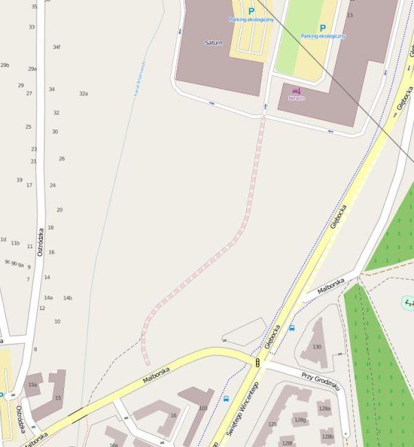Osiedle powstanie na tym terenie. Na mapie widać drogę urywająca się tuż przed Malborską. Szkoła stanie w głębi działki, nad Kanałkiem. Oczywiście będzie do niej prowadziła nowa droga.  / Mapa - Open Street Map