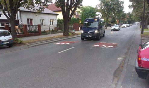 Kierowca omija progi środkiem jezdni. Musi przy tym trochę zwolnić / fot. targowek.info