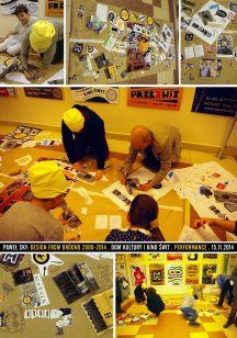 """Performance: Design from Bródno 2000-2014 Projekt stworzony wspólnie z publicznością podczas wernisażu wystawy """"Paweł Sky: Posters for Bródno - plakaty z lat 2000-2014"""", Warszawa, Dom Kultury i Kino ŚWIT, 15.11.2014 (zdjęcia: PS, Tomik Wincenciak)"""