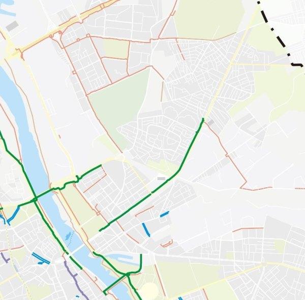 Na zielono zaznaczono DDR odśnieżane w zimie / rys. pełnomocnik rowerowy