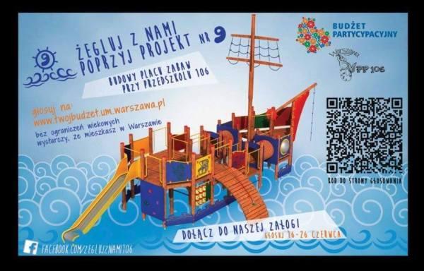 Plakat zachęcający do głosowania na przedszkolny plac zabaw