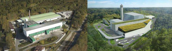 Na lewym obrazku spalarnia na Targówku obecnie (fot. Google Maps), z prawej po planowanej rozbudowie (mat. inwestora)