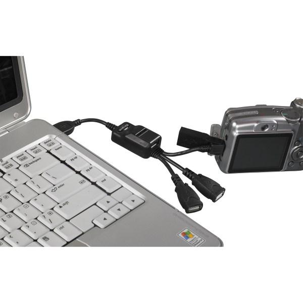 USB 2.0 4- Port Bend-A-Hub With Mini USB Adapter - Black ...