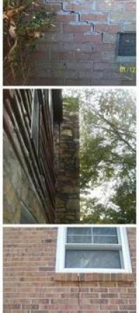 Signs of Foundation Settlement, leaning chimney, stair-step cracks, vertical and horizontal cracks