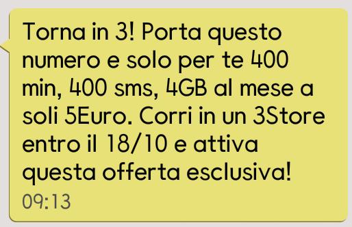sms - 3 italia - all in 400