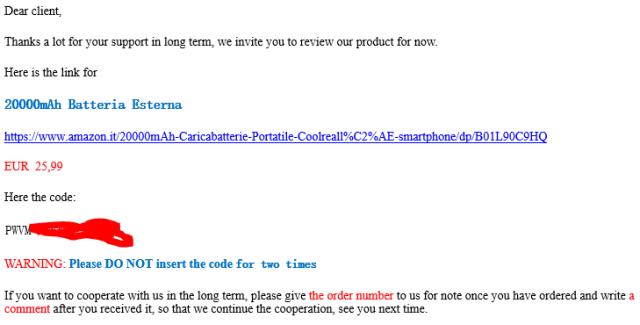 La mail che abbiamo ricevuto personalmente dal venditore