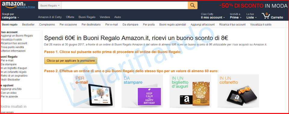 amazon buono regalo 8 euro