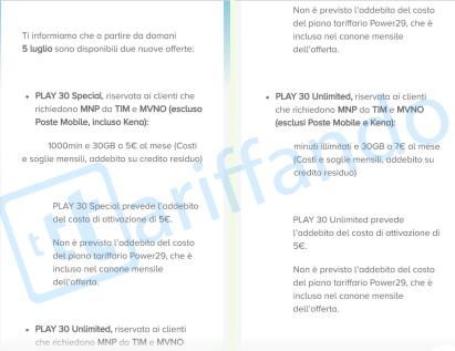 Tre: Play 30 Special a 5€ e Play 30 Unlimited 7€ al mese | Tariffando.it
