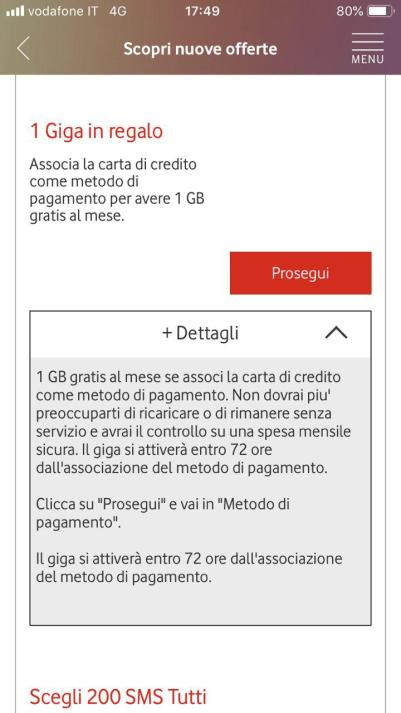 vodafone 1gb regalo carta di credito