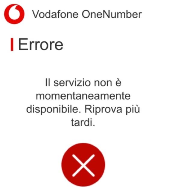 vodafone one number non funziona