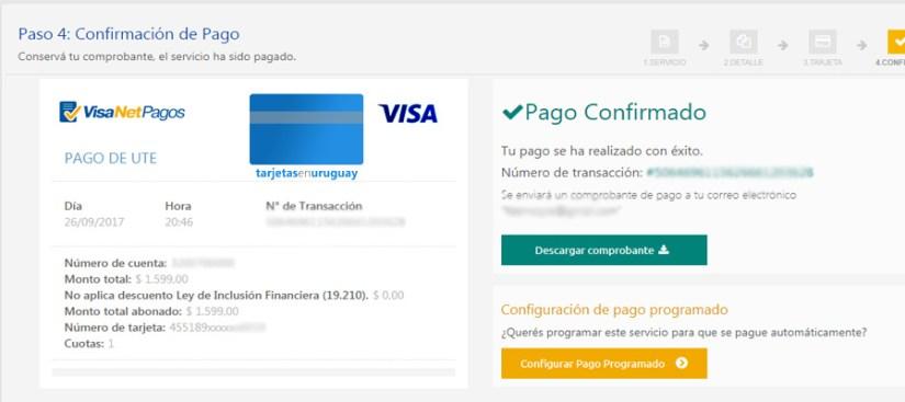 Pagar factura de UTE con Visa